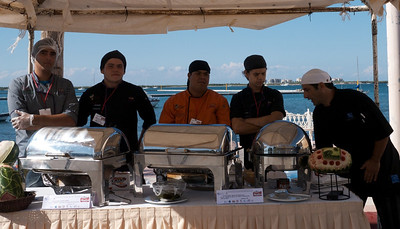 La Paz Mexico Novemeber 2012 Sardine Cook Off!  Contestants are cooking schools and restaurants.